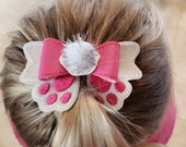 Bunny Tail Hair Bow for Easter or Spring with French Barrette