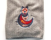 Geometric Cat Hand Towel - Embroidered