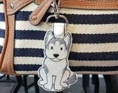 Husky Dog Key Chain, Key Fob, Zipper Pull - FREE SHIPPING