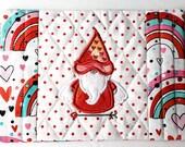 Gnome Hearts and Rainbows Mug Rug Coaster