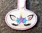 Unicorn Key Chain, Key Fob, Zipper Pull, Snap Tab