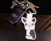 Boston Terrier Dog Keychain Key Fob, Snap Tab, Zipper Pull, Charm