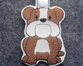Bulldog Dog Key Chain, Key Fob, Zipper Pull, Snap Tab