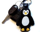 Penguin Key Chain, Key Fob, Zipper Pull, Snap Tab