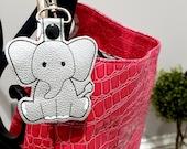 Elephant Key Chain, Key Fob, Zipper Pull, Snap Tab