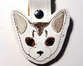 Abyssinian Cat Key Chain, Key Fob, Zipper Pull, Snap Tab