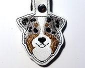 Aussie Australian Shepherd Key Chain, Key Fob, Zipper Pull, Snap Tab