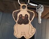 Pug Dog Key Chain, Key Fob, Zipper Pull, Snap Tab