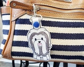 Shih Tzu Dog Keychain, Luggage Tag, Zipper Pull