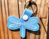 Dragonfly Keychain, Key Fob, Zipper Pull, Snap Tab