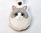 Ragdoll Cat Key Chain, Key Fob, Zipper Pull, Snap Tab