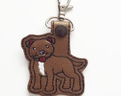 Pit Bull Dog Keychain, Luggage Tag, Zipper Pull
