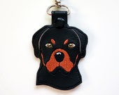 Rottweiler Dog Key Chain, Key Fob Zipper Pull FREE SHIPPING