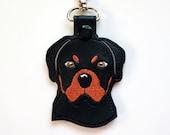 Rottweiler Dog Key Chain, Key Fob Zipper Pull
