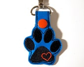 Paw Print and Heart Keychain, Luggage Tag, Zipper Pull