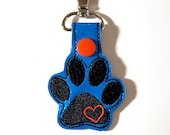 Paw Print and Heart Key Chain, Key Fob, Zipper Pull - FREE SHIPPING