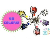 Among Us Crewmate SUS Bean Keychain Key Fob, Snap Tab, Zipper Pull, Charm