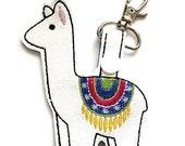Llama Key Chain, Key Fob, Zipper Pull, Snap Tab