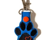 Paw Print and Heart Key Chain, Key Fob, Zipper Pull, Snap Tab