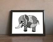 Elephant I Zentangle Art Print Digital Download