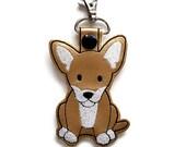 Chihuahua Dog Key Chain, Key Fob, Zipper Pull, Snap Tab