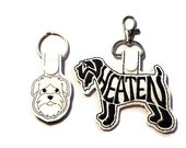 Wheaten Terrier Dog Key Chain, Key Fob, Zipper Pull, Snap Tab
