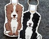 Border Collie Dog Key Chain, Key Fob, Zipper Pull, Snap Tab