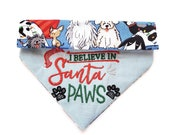 I Believe In Santa Paws Dog Bandana, Personalized Embroidery, Over the Collar