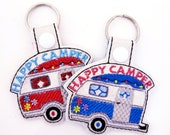 Happy Camper RV Key Chain Key Fob Zipper Pull, Snap Tab