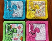 Easter Bunny Rabbit Spring Coaster Set (4) - Embroidered