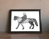 Horse and Jockey Zentangle Art Print Digital Download