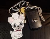 Chihuahua Cartoon Dog Key Chain, Key Fob, Zipper Pull, Snap Tab