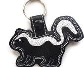 Skunk Key Chain, Key Fob, Zipper Pull, Snap Tab