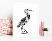 Snowy Egret Zentangle Art Print Digital Download