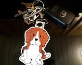 Beagle Key Chain, Key Fob, Zipper Pull, Snap Tab