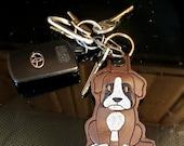 Boxer Dog Key Chain, Key Fob, Zipper Pull, Snap Tab