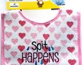 Embroidered Baby Bibs - Spit Happens - Pull Alarm to Sound - Newborn size bib
