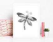 Dragonfly Zentangle Art Print Digital Download