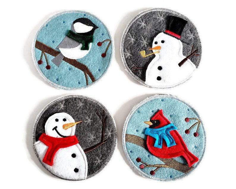 Winter Birds & Snowmen Coaster Set 4  Embroidered image 0