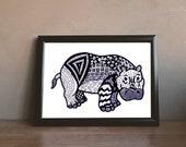 Hippo Zentangle Art Print Digital Download