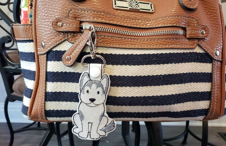 Husky Dog Keychain Luggage Tag Zipper Pull image 0