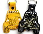 Jeep Keychain, Key Fob, Zipper Pull, Snap Tab