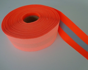 Orange Reflective Sew-on Vest Trim Fabric Tape - (sold by the yard)