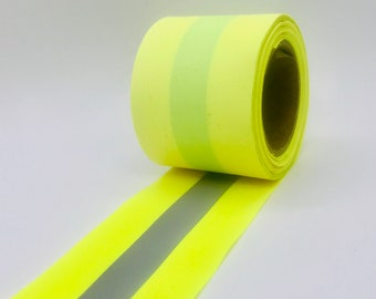 Yellow Reflective Sew-on Vest Trim Fabric Tape - (sold by the yard)