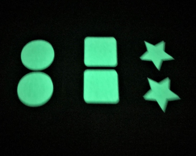 Glow in the Dark Shapes Dots, Squares or Stars - Self Adhesive - Qty. 30