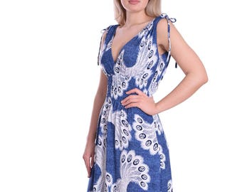 Summer Maxi Dress Blue White Great for Resort and Cruise Holiday