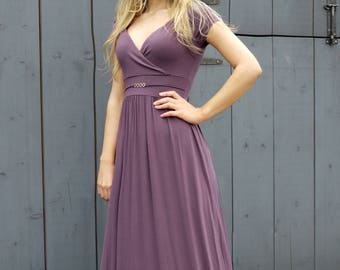 Long Summer Party Maxi Dress Cap Sleeve Empire Style Nude Purple Maternity Suitable