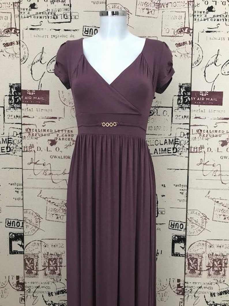 cd95f0bc5361 Long Dress Soft Light Jersey Nude Plum Cap Sleeve Empire Style | Etsy