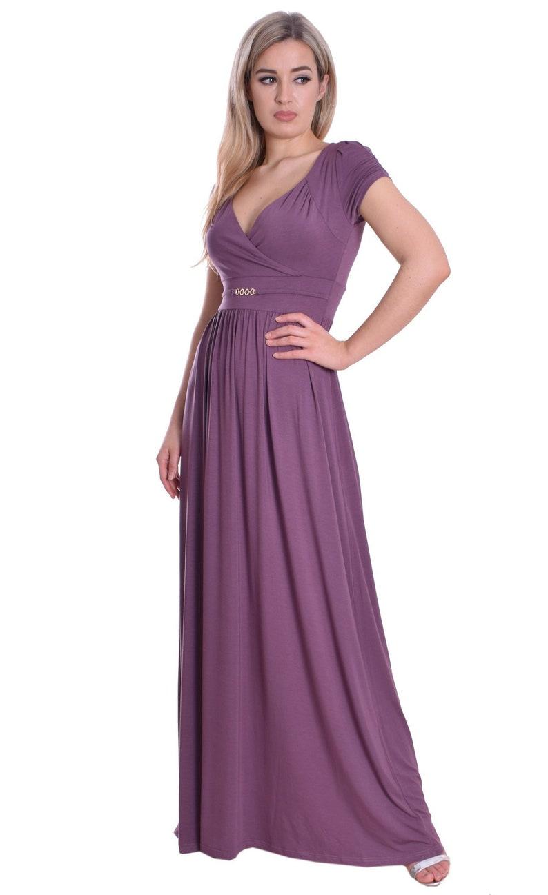 cd95f0bc5361 Long Dress Soft Light Jersey Nude Plum Cap Sleeve Empire Style | Etsy