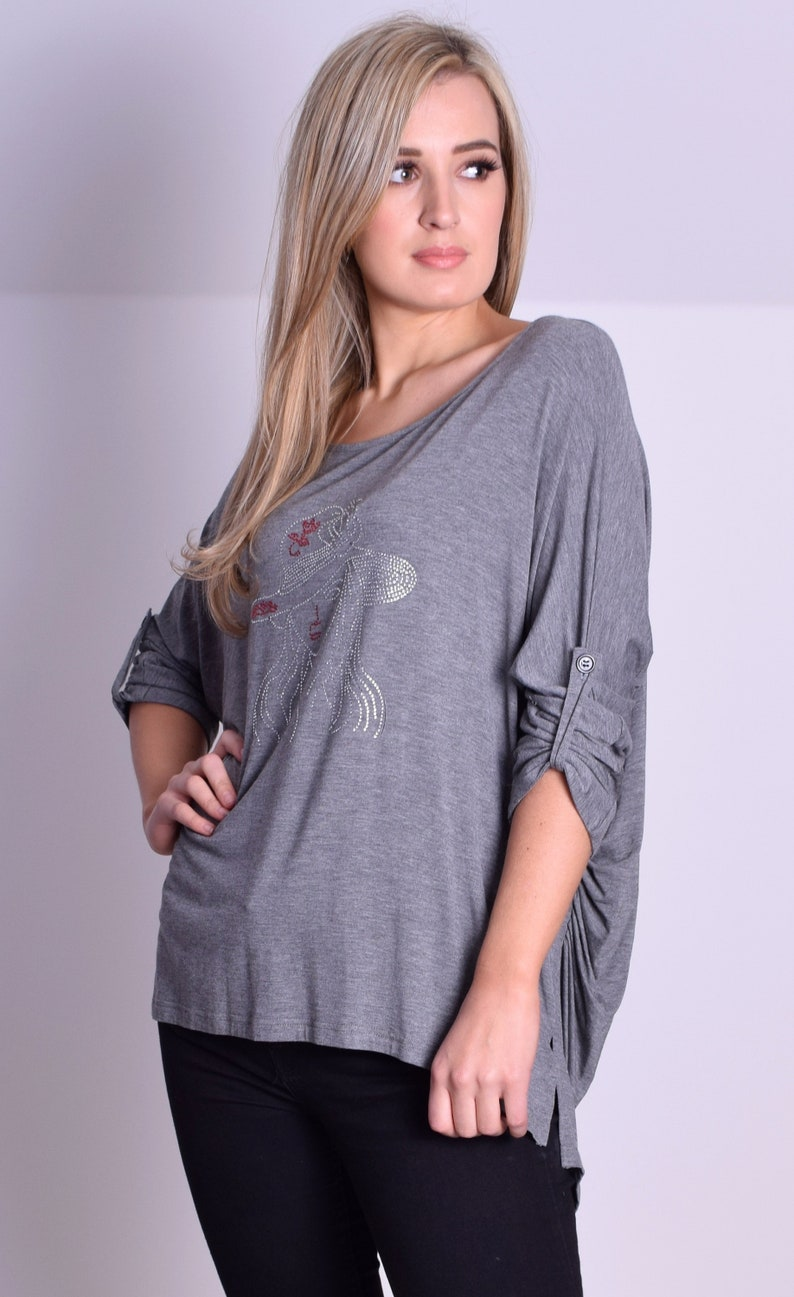 ebdba59fdb0 Casual Jersey Tunic Top Grey Hi Low Style Rhinestone Motiv   Etsy